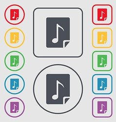 Audio mp3 file icon sign symbols on the round and vector