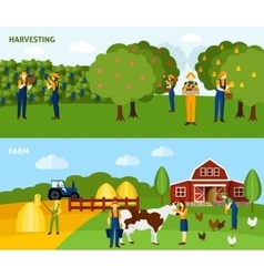 Farming 2 flat horizontal banners composition vector