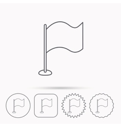 Waving flag icon location pointer sign vector