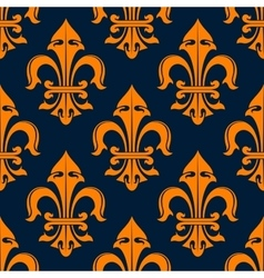 Orange and blue fleur-de-lis seamless pattern vector