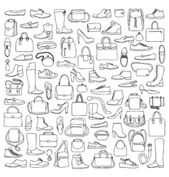 Man and woman doodle shoes and bags vector