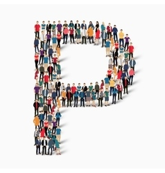 Group people shape letter p vector