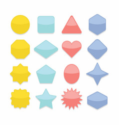 basic colorful geometrical shape web buttons set vector image vector image