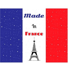 Black eiffel tower france flag vector