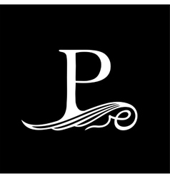 Capital letter p for monograms emblems and logos vector