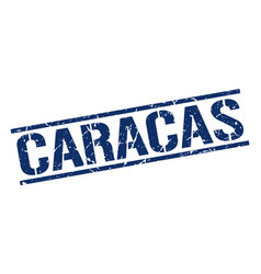 Caracas blue square stamp vector