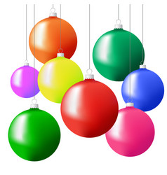 Christmas tree balls in different colors hanging vector