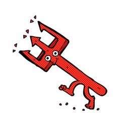 Comic cartoon devil fork vector
