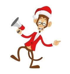 Funny monkey christmas santa hat dancing vector