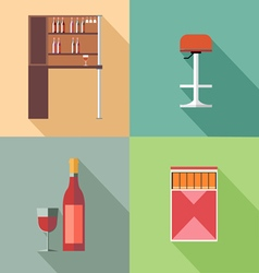 Furniture set with wine bottles and chair in outli vector image