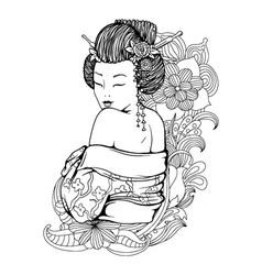 Geisha with floral vector