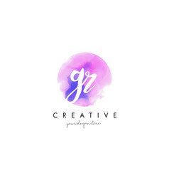 Gr watercolor letter logo design with purple vector