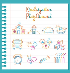 Kindergarten Line Drawing Toys and Playground Set vector image