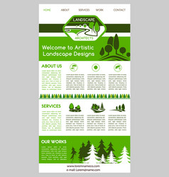 Landing page template for landscape design website vector