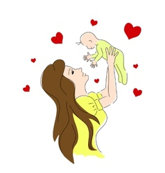 mother life color Small baby vector image vector image