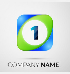 number one symbol in the colorful square vector image vector image
