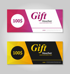 Pink gold gift voucher template layout design set vector image vector image