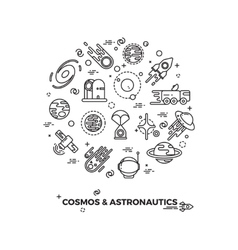 Planets space and rocket icons vector image