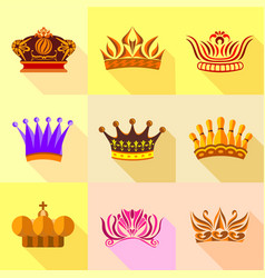 Princess crown icons set flat style vector