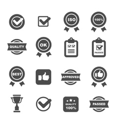 quality control icons set symbols vector image vector image