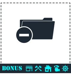 Remove folder icon flat vector