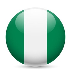 Round glossy icon of nigeria vector