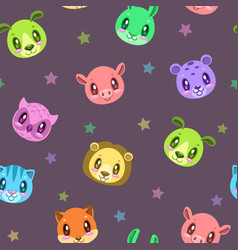 seamless pattern with cute animal faces vector image vector image