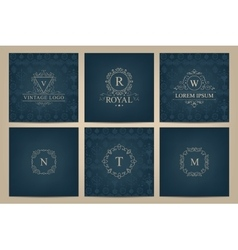 set of cards with monogram logos frames vector image