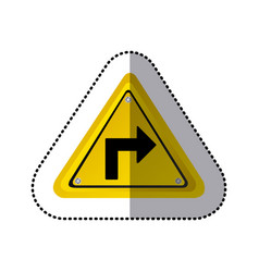 Sticker yellow triangle frame turn right traffic vector