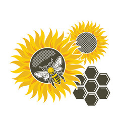 Sunflower and bee vector