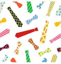 Ties and bow ties pattern in cartoon style vector