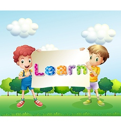Two boys holding a banner that has words on it vector image vector image