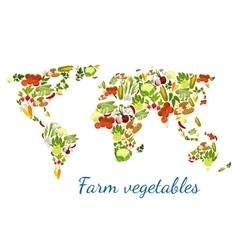 Vegetables world map vegetarian veggies vector