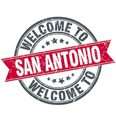 Welcome to san antonio red round vintage stamp vector