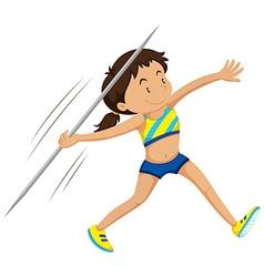 Woman athlete doing javelin vector