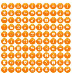 100 mask icons set orange vector