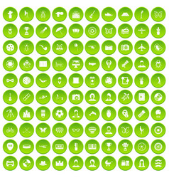 100 photo icons set green vector