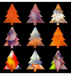 Set of christmas colorful tree decoration low vector