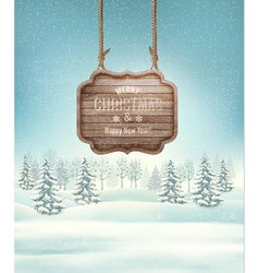 Winter landscape with a wooden ornate merry vector