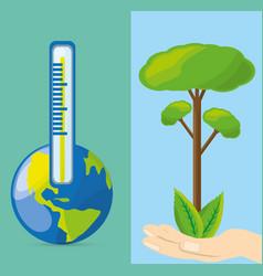 temperature measurement in the ecosystem vector image
