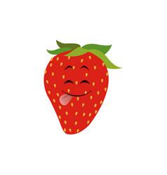kawaii strawberry fruit fresh food design vector image