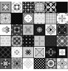 Black and white modern ceramic tiles vector