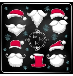 Christmas set with Santa Claus on chalkboard vector image