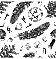 Seamless pattern with ritual things black contour vector