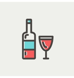 Bottle of whisky and a glass thin line icon vector