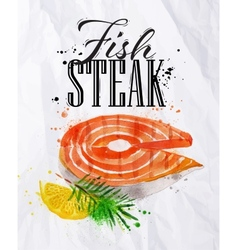 Fish steak watercolor vector