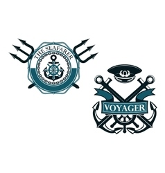 Retro voyager and seafarer nautical badges vector