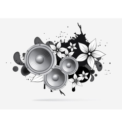 Abstract music background with subwoofer vector