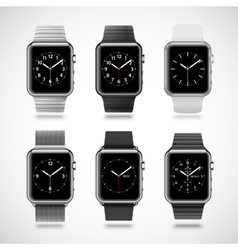 Set of 6 modern shiny smart watches vector