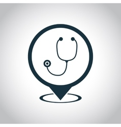 Stethoscope medical map pin icon vector